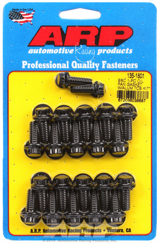 12-Pt Head Black Oxide Oil Pan Bolt Kit for Chevrolet 396-454 cid (w/ 1-pc. rubber gasket)