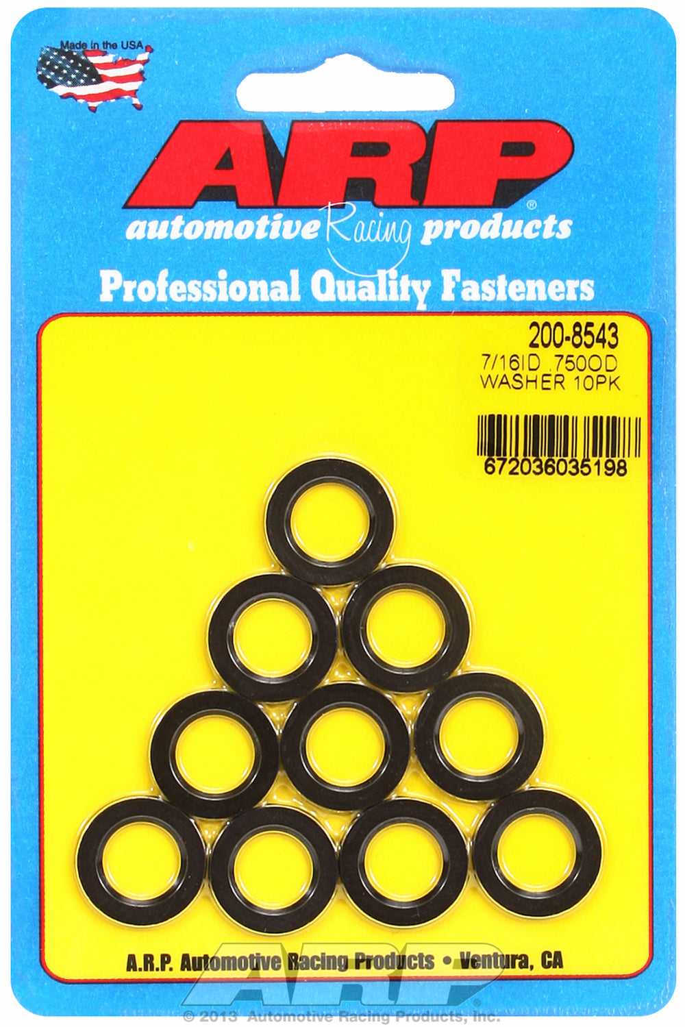 7/16 ID .750 OD black washers