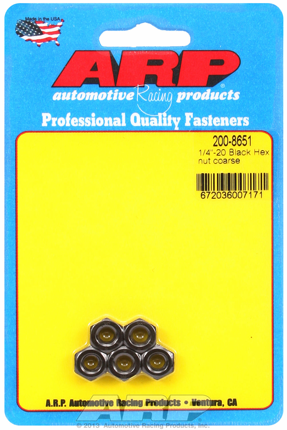 1/4-20 Black Oxide Hex Nut Kit 5-Pack