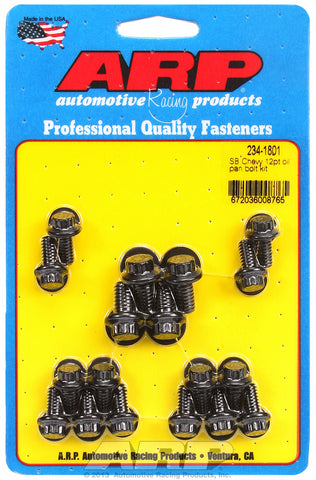 12-Pt Head Black Oxide Oil Pan Bolt Kit for Chevrolet 265-400 cid (w/ standard 2-pc. cork gasket)