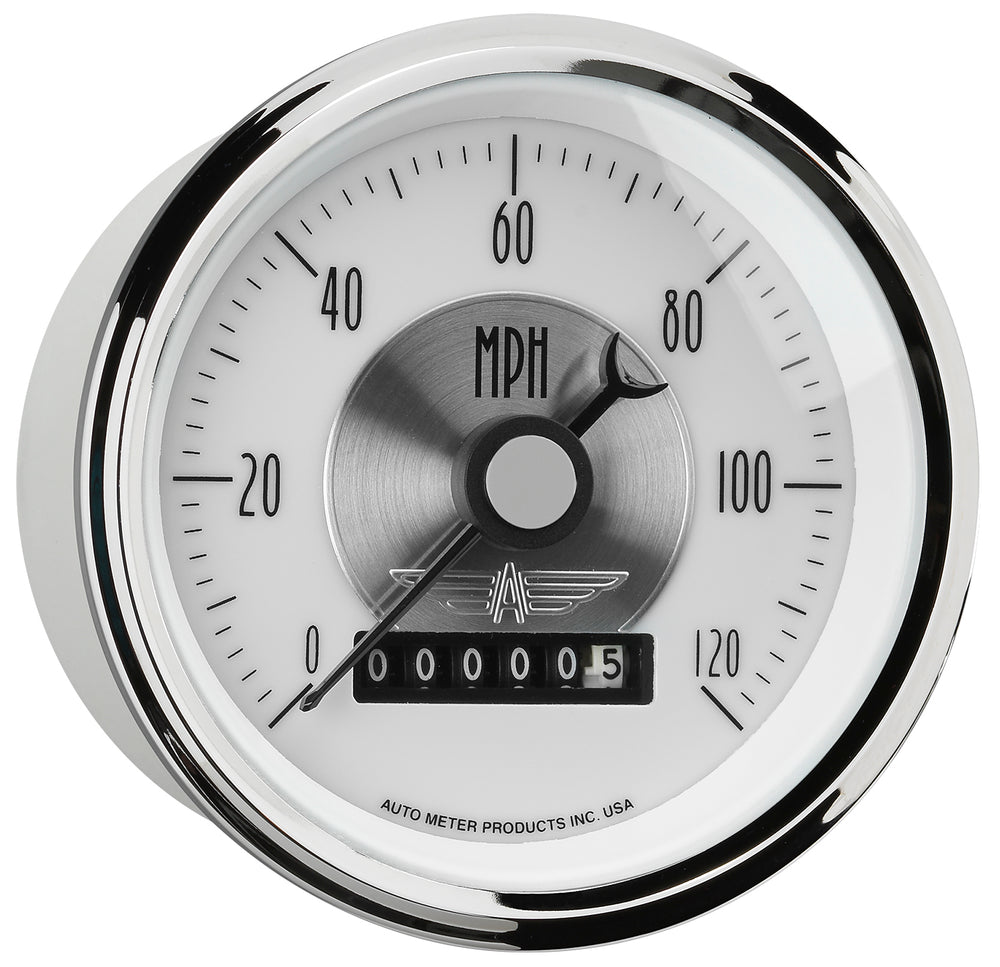 GAUGE, SPEEDO, 3 3/8in, 120MPH, ELEC. PROGRAM W/WHEEL ODO, PRESTIGE PEARL