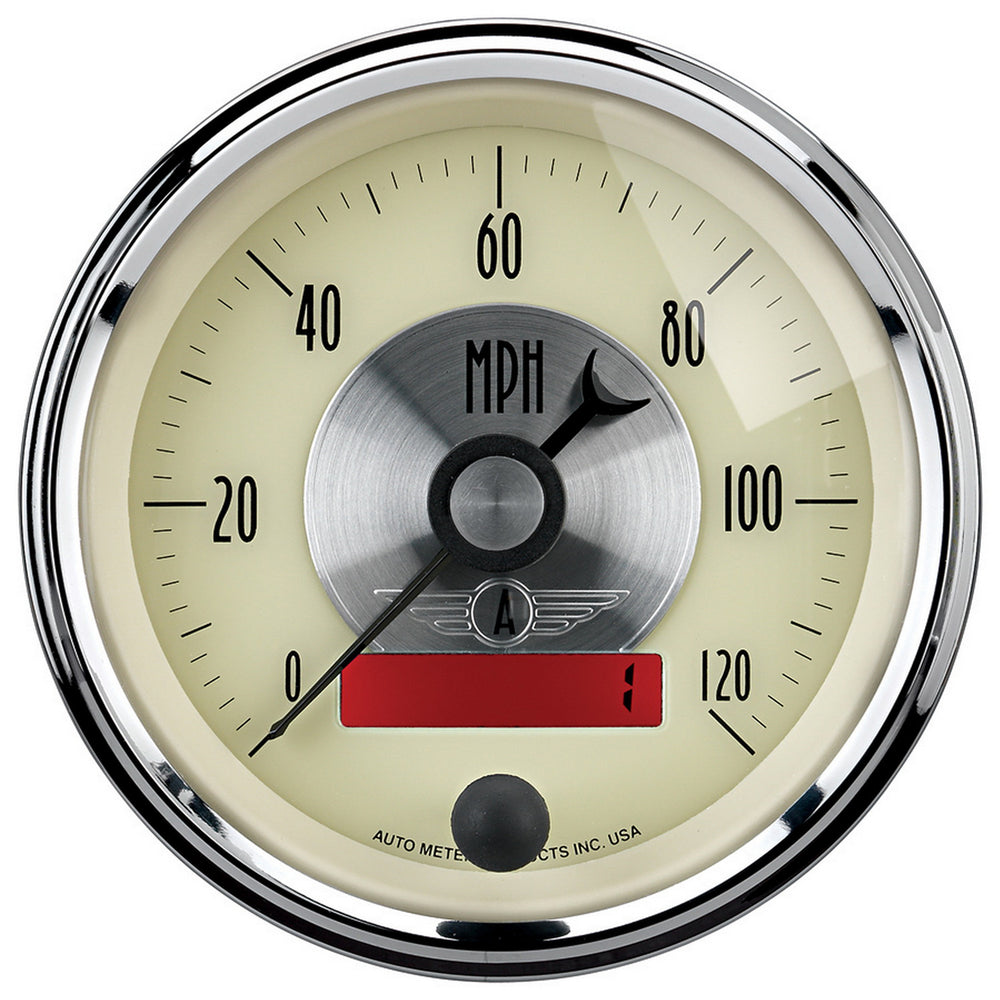 GAUGE, SPEEDO, 3 3/8in, 120MPH, ELEC. PROGRAM W/LCD ODO, PRESTIGE ANTQ. IVORY