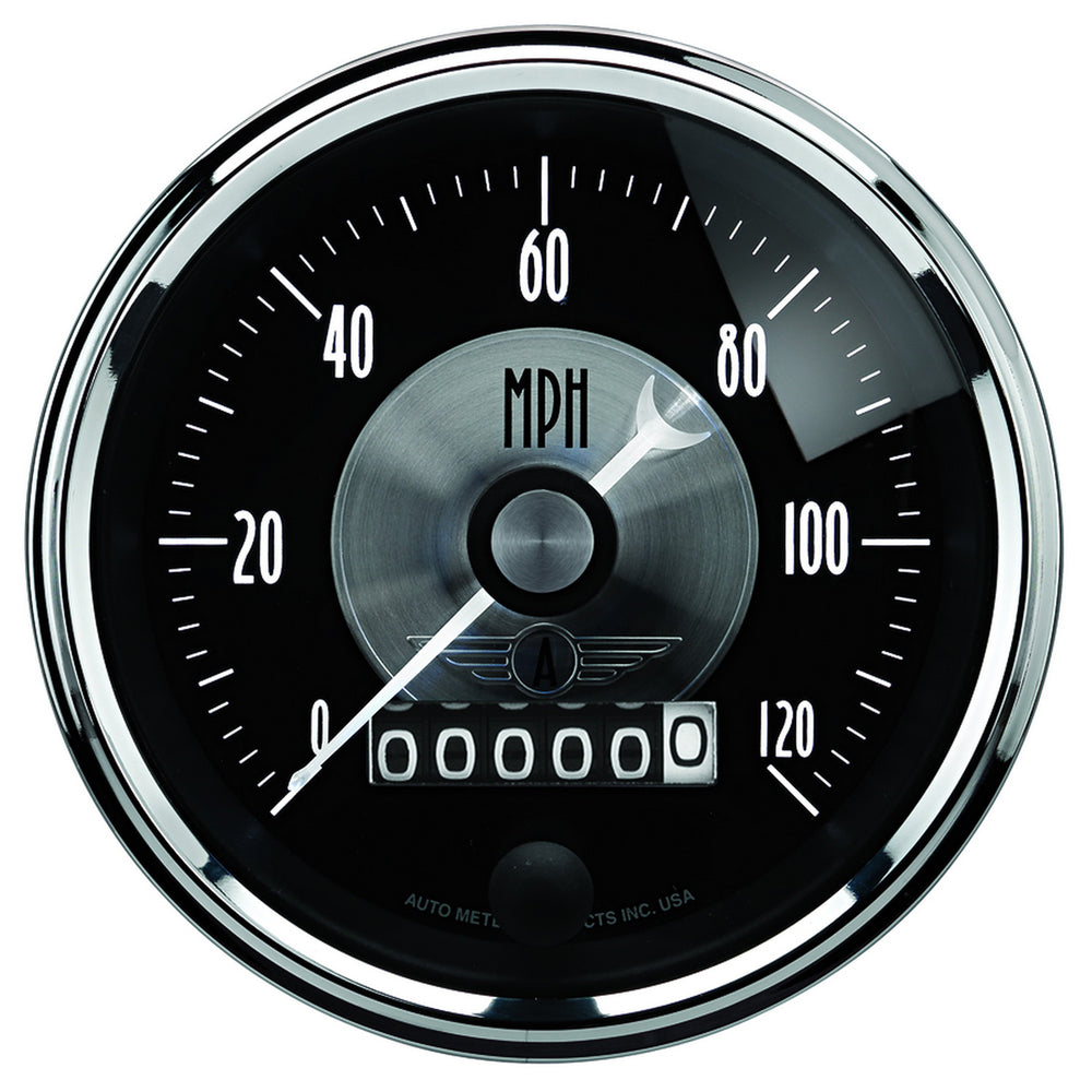 GAUGE, SPEEDO, 3 3/8in, 120MPH, ELEC. PROGRAM W/WHEEL ODO, PRESTIGE BLK. DIAMOND