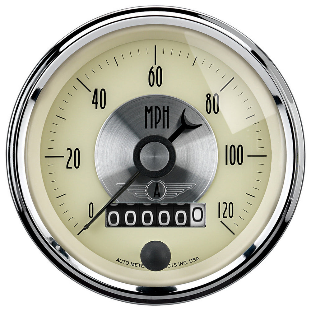 GAUGE, SPEEDO, 3 3/8in, 120MPH, ELEC. PROGRAM W/WHEEL ODO, PRESTIGE ANTQ. IVORY