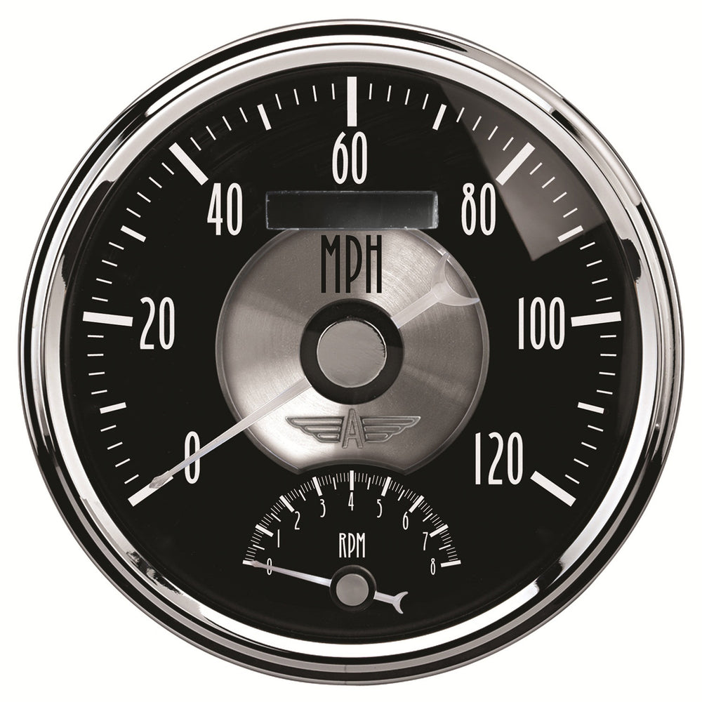 GAUGE, TACH/SPEEDO, 5in, 120MPH & 8K RPM, ELEC. PROGRAM, PRESTIGE BLK. DIAMOND