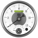 GAUGE, TACH/SPEEDO, 5in, 120MPH & 8K RPM, ELEC. PROGRAM., PRESTIGE PEARL