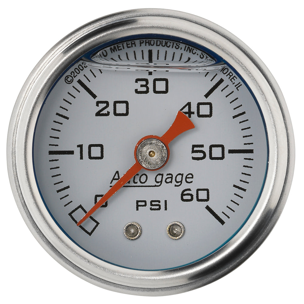 GAUGE, PRESSURE, 1.5in DIRECT MNT, 60PSI, LIQUID FILLED MECH, WHT, 1/8in NPTF MALE