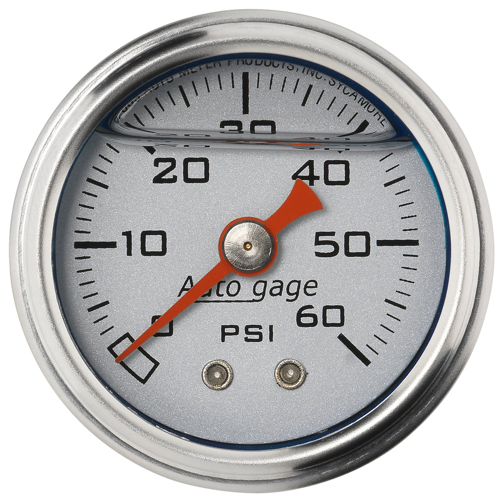 GAUGE, PRESS, 1.5in DIRECT MNT, 60PSI, LIQUID FILLED MECH, SLVR, 1/8in NPTF MALE