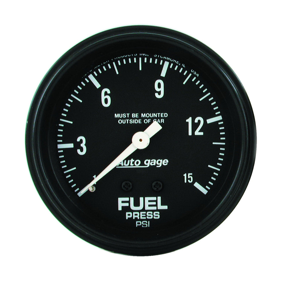 GAUGE, FUEL PRESSURE, 2 5/8in 0-15PSI, MECHANICAL, BLACK, AUTOGAGE
