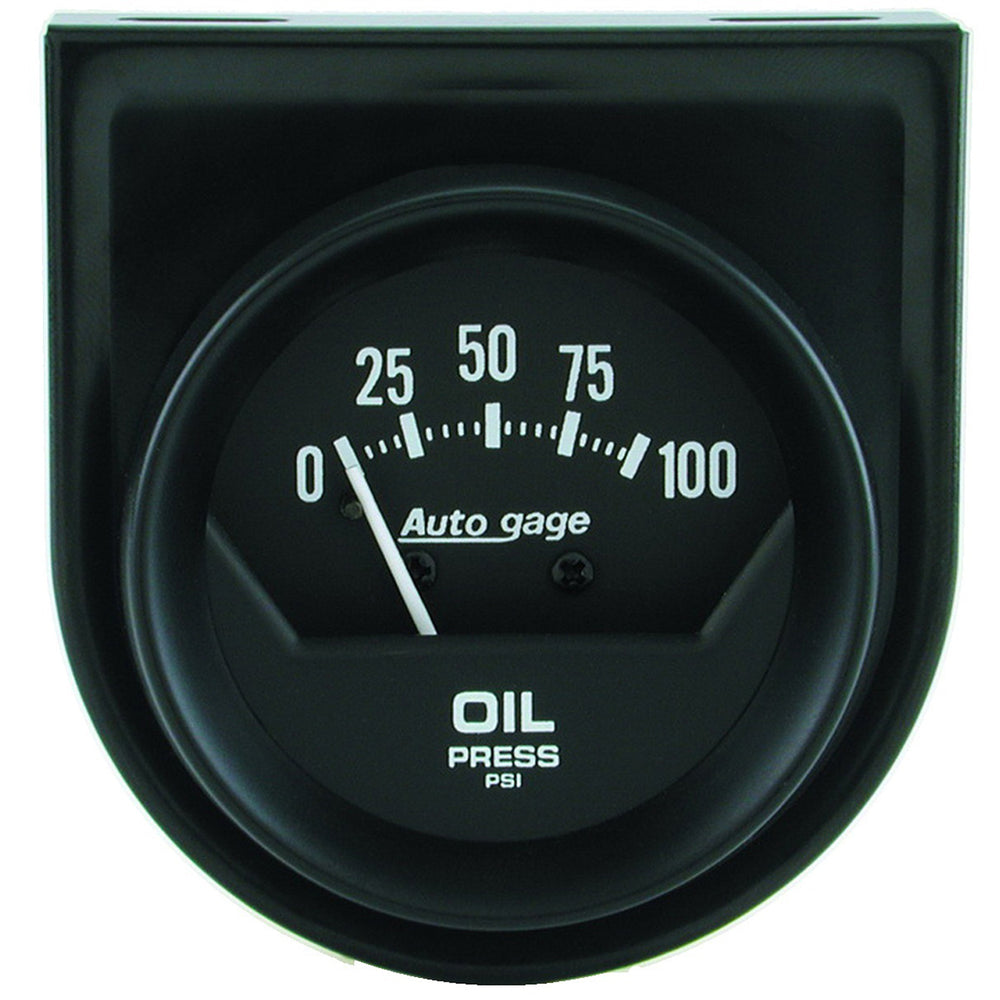GAUGE CONSOLE, OIL PRESS, 2in, 100PSI, MECH, SHORT SWEEP, BLACK, AUTOGAGE