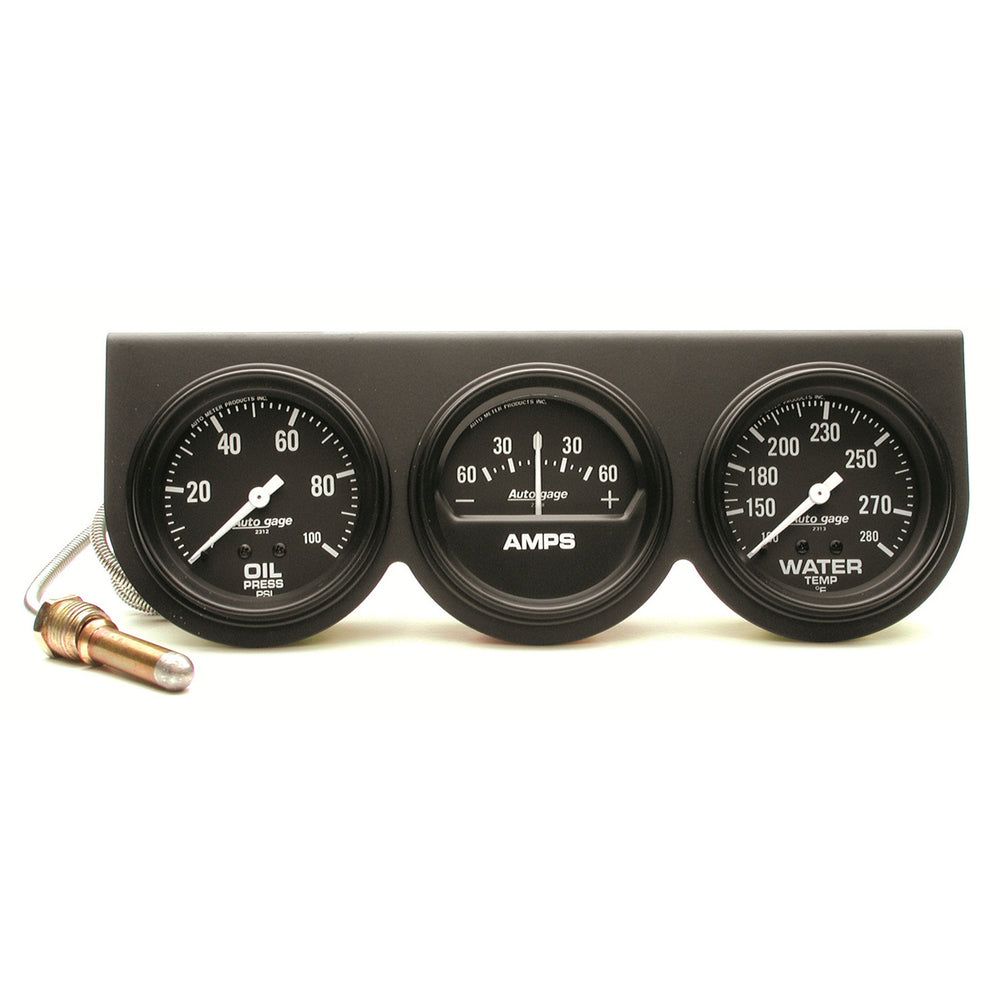 GAUGE CONSOLE, OILP/WTMP/AMP, 2 5/8in, 100PSI/280?F/60A, BLK DIAL, BLK BZL, AG