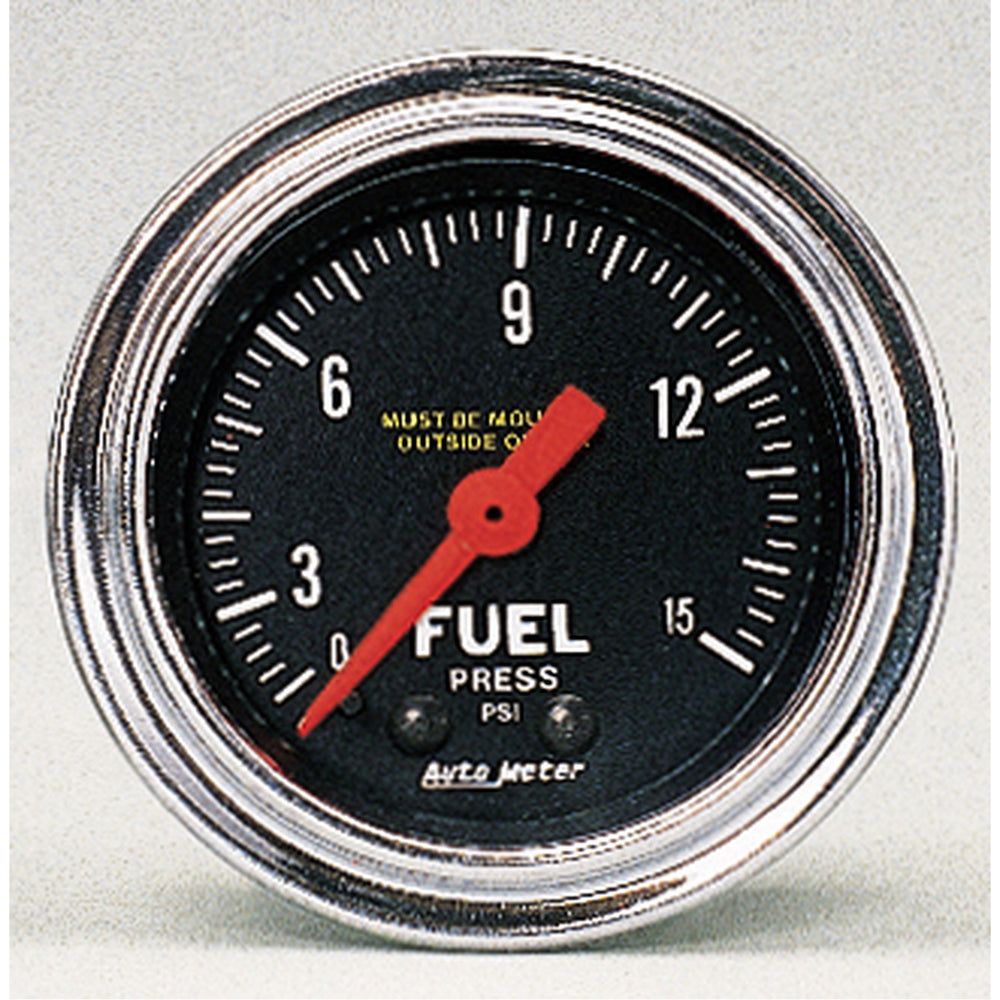 GAUGE, FUEL PRESSURE, 2 1/16in, 15PSI, MECHANICAL, TRADITIONAL CHROME