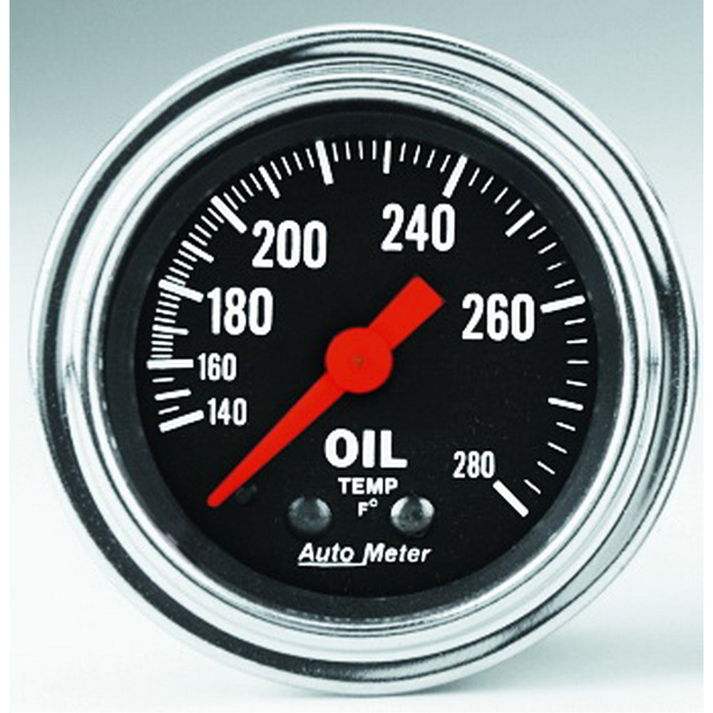 GAUGE, OIL TEMP, 2 1/16in, 140-280?F, MECHANICAL, TRADITIONAL CHROME