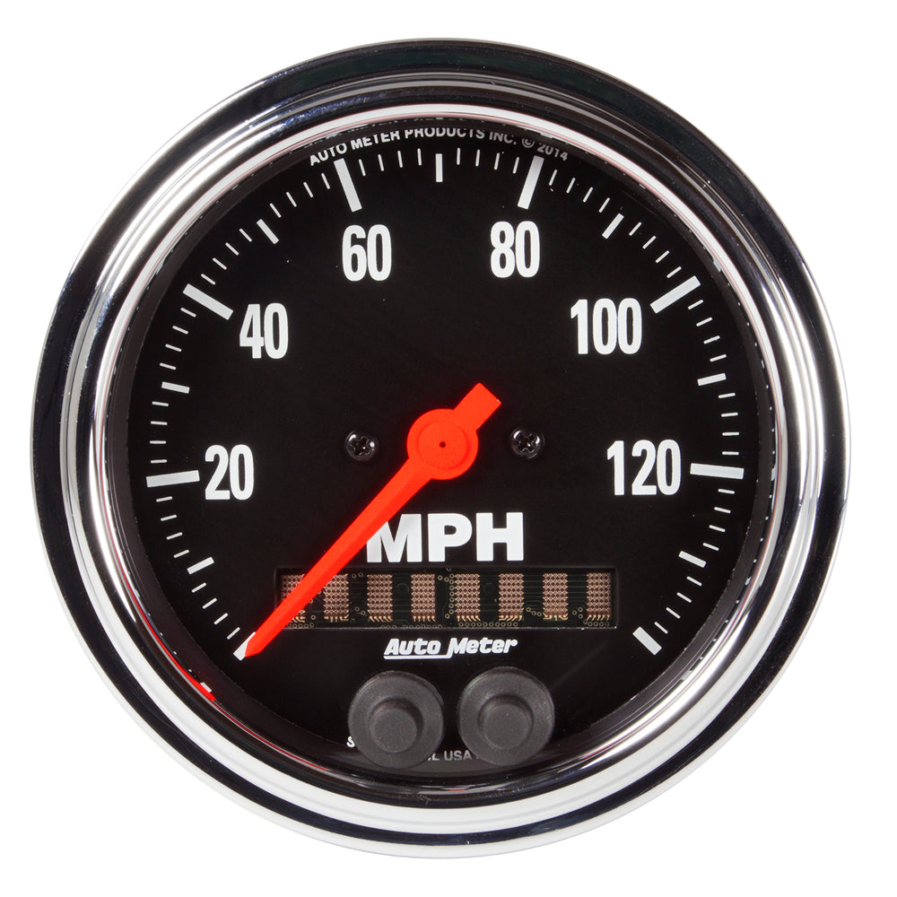 GAUGE, SPEEDOMETER, 3 3/8in, 140MPH, GPS, TRADITIONAL CHROME