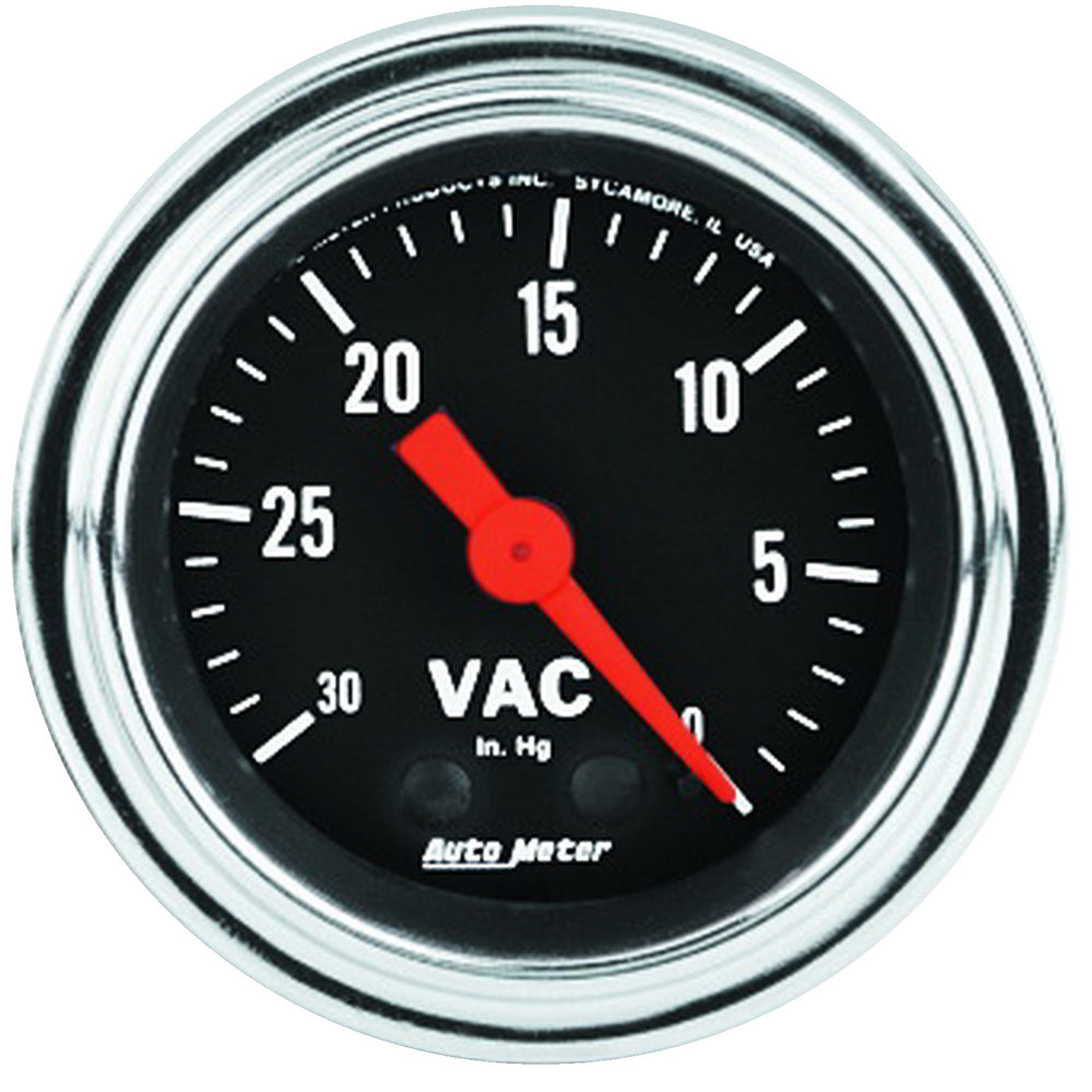 GAUGE, VACUUM, 2 1/16in, 30INHG, MECHANICAL, TRADITIONAL CHROME