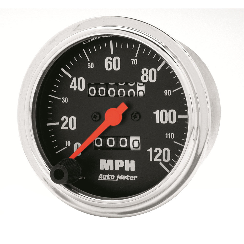 GAUGE, SPEEDOMETER, 3 3/8in, 120MPH, MECHANICAL, TRADITIONAL CHROME