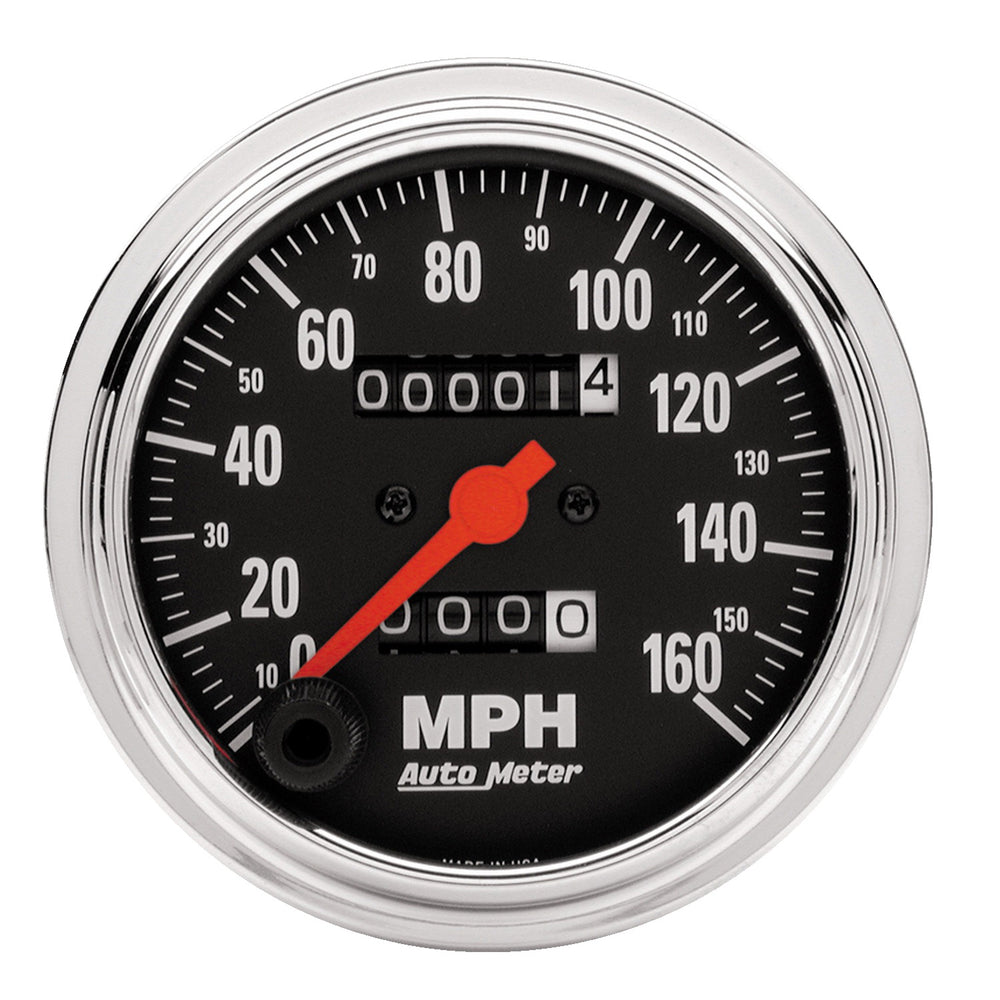 GAUGE, SPEEDOMETER, 3 3/8in, 160MPH, MECHANICAL, TRADITIONAL CHROME
