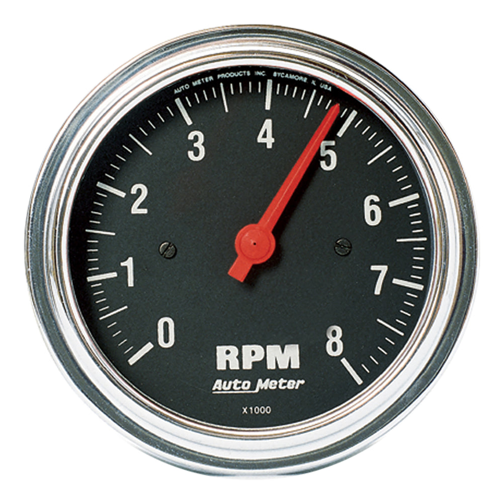 GAUGE, TACHOMETER, 3 3/8in, 8K RPM, IN-DASH, TRADITIONAL CHROME