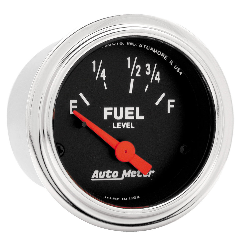GAUGE, FUEL LEVEL, 2 1/16in, 73OE TO 10OF, ELEC, TRADITIONAL CHROME