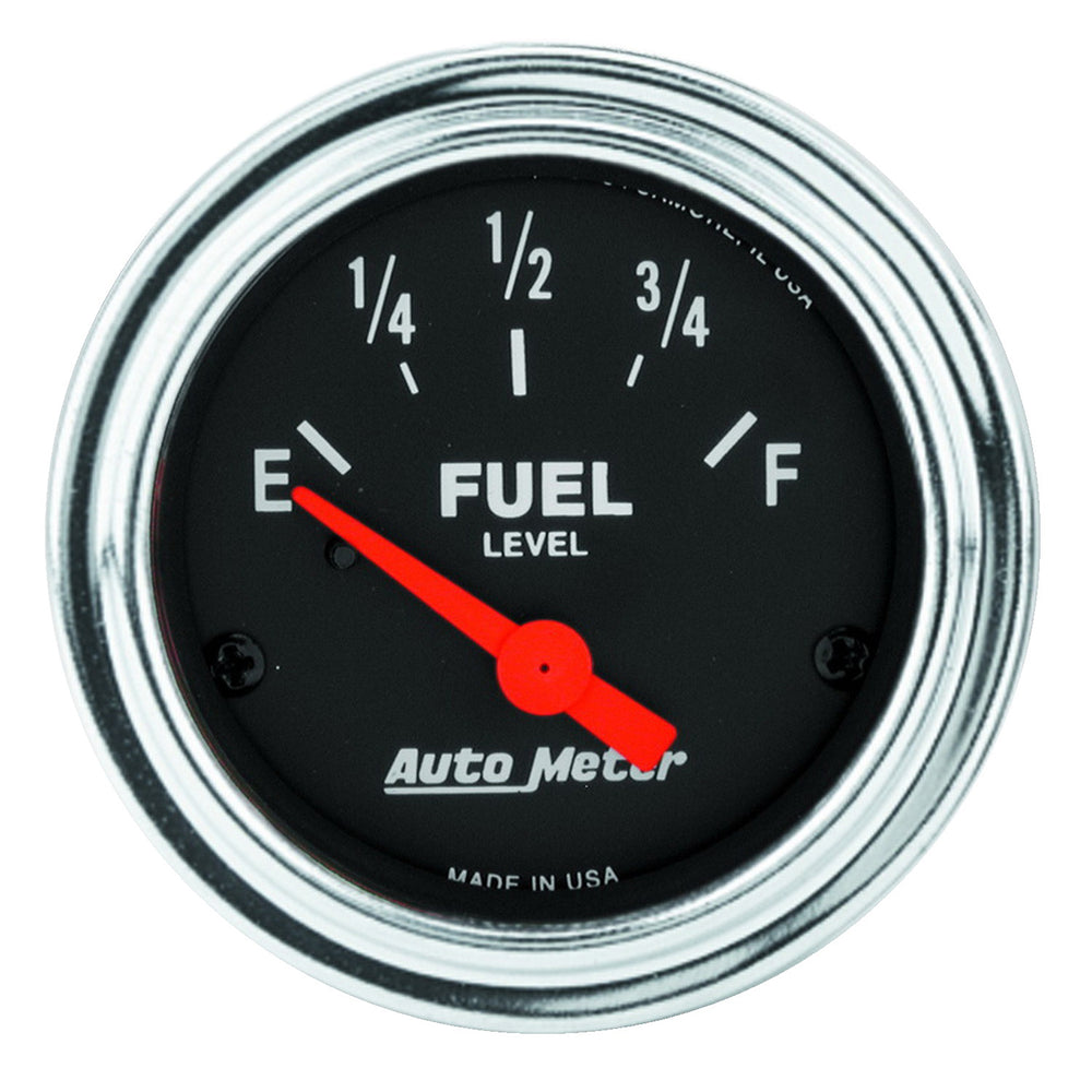 GAUGE, FUEL LEVEL, 2 1/16in, 0OE TO 30OF, ELEC, TRADITIONAL CHROME