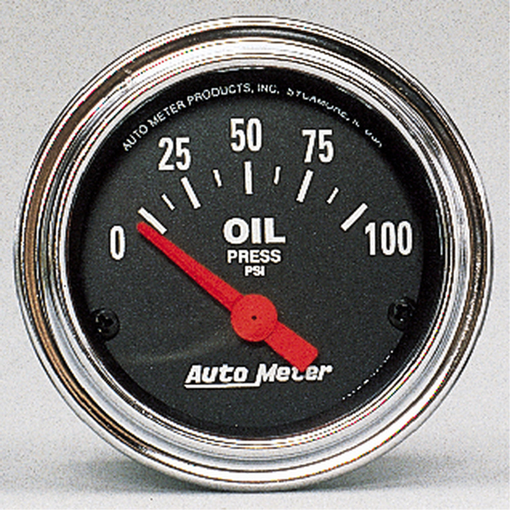 GAUGE, OIL PRESSURE, 2 1/16in, 100PSI, ELECTRIC, TRADITIONAL CHROME