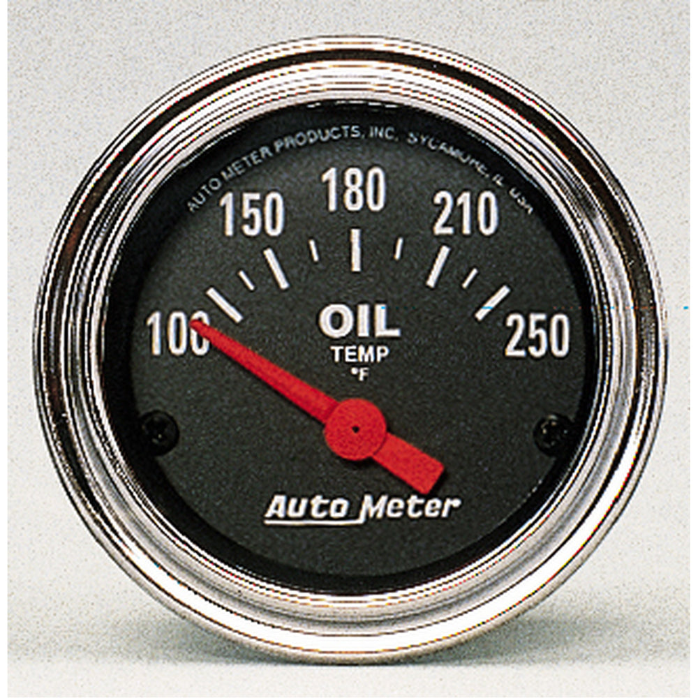GAUGE, OIL TEMP, 2 1/16in, 100-250?F, ELECTRIC, TRADITIONAL CHROME