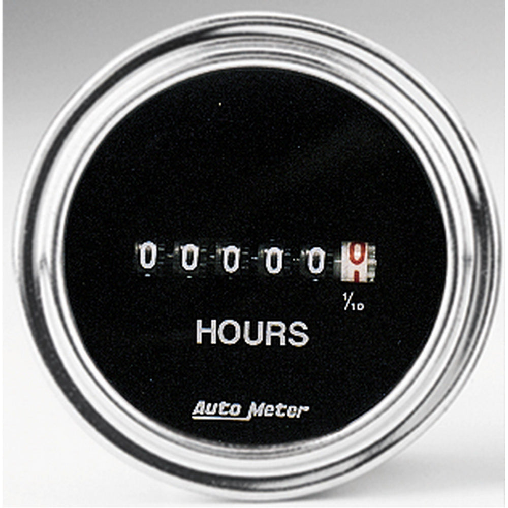 GAUGE, HOURMETER, 2 1/16in, 100K HOURS, ELECTRIC (8V-32V), TRADITIONAL CHROME