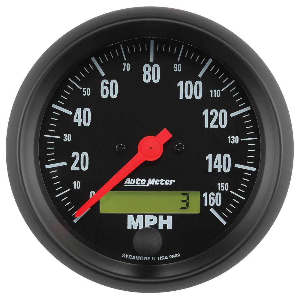 GAUGE, SPEEDO, 3 3/8in, 160MPH, ELEC. PROGRAM W/ LCD ODO, Z-SERIES