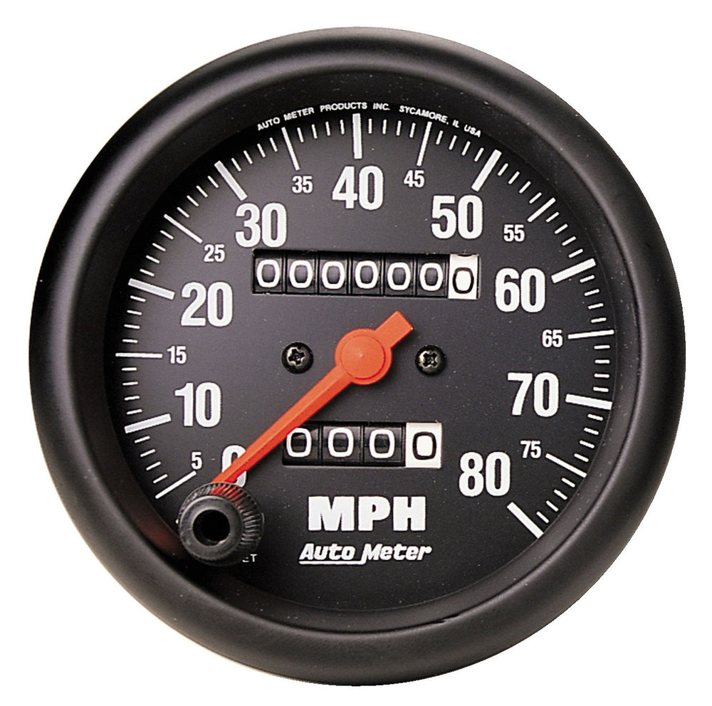 GAUGE, SPEEDOMETER, 3 3/8in, 80MPH, MECHANICAL, Z-SERIES