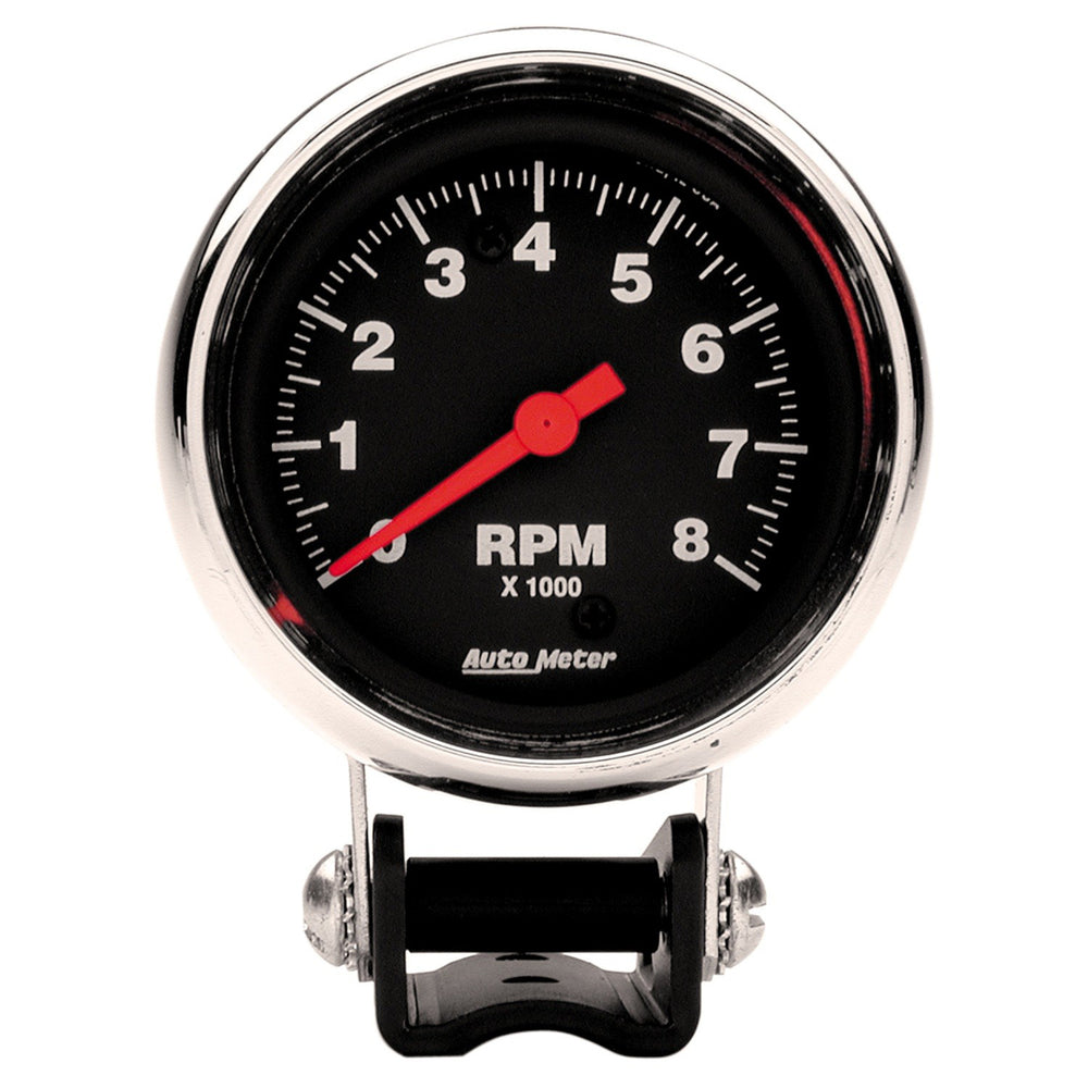 GAUGE, TACHOMETER, 2 5/8in, 8K RPM, PEDESTAL, TRADITIONAL CHROME