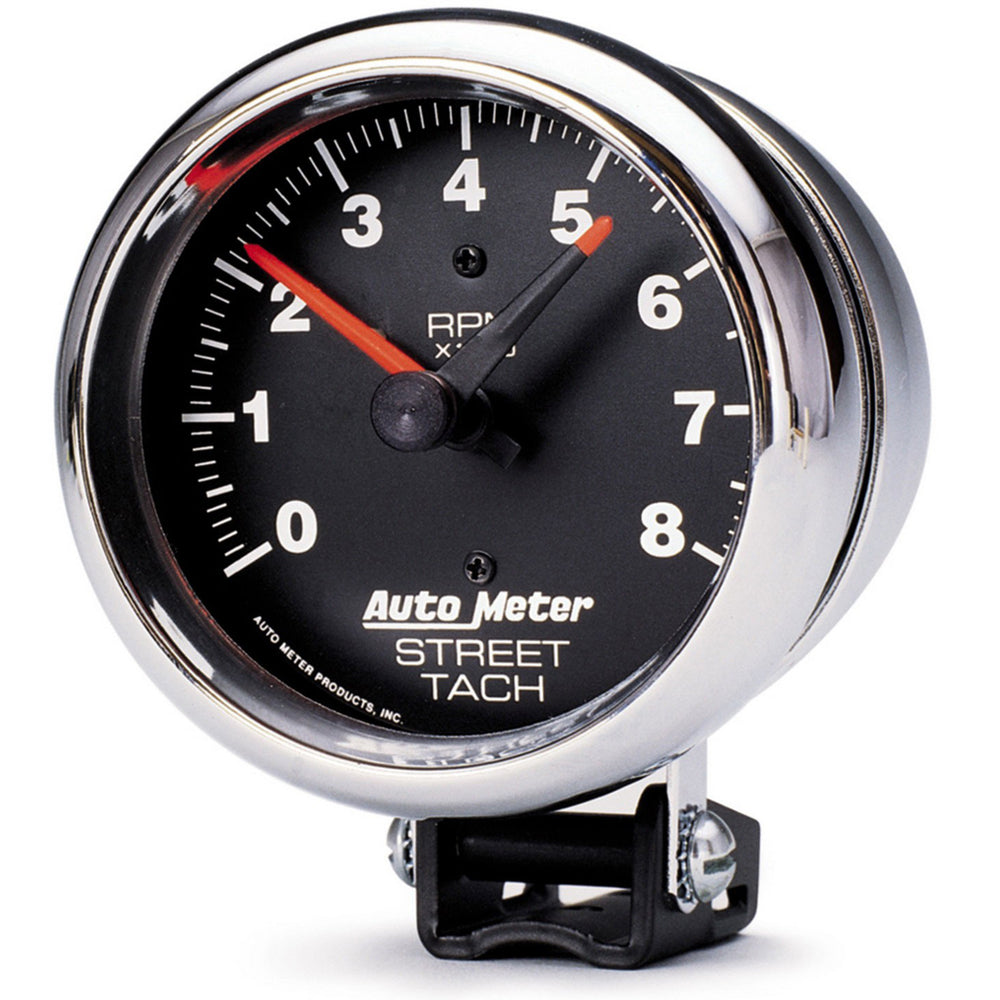 GAUGE, TACHOMETER, 3 3/4in, 8K RPM, PEDESTAL W/RED LINE, TRADITIONAL CHROME