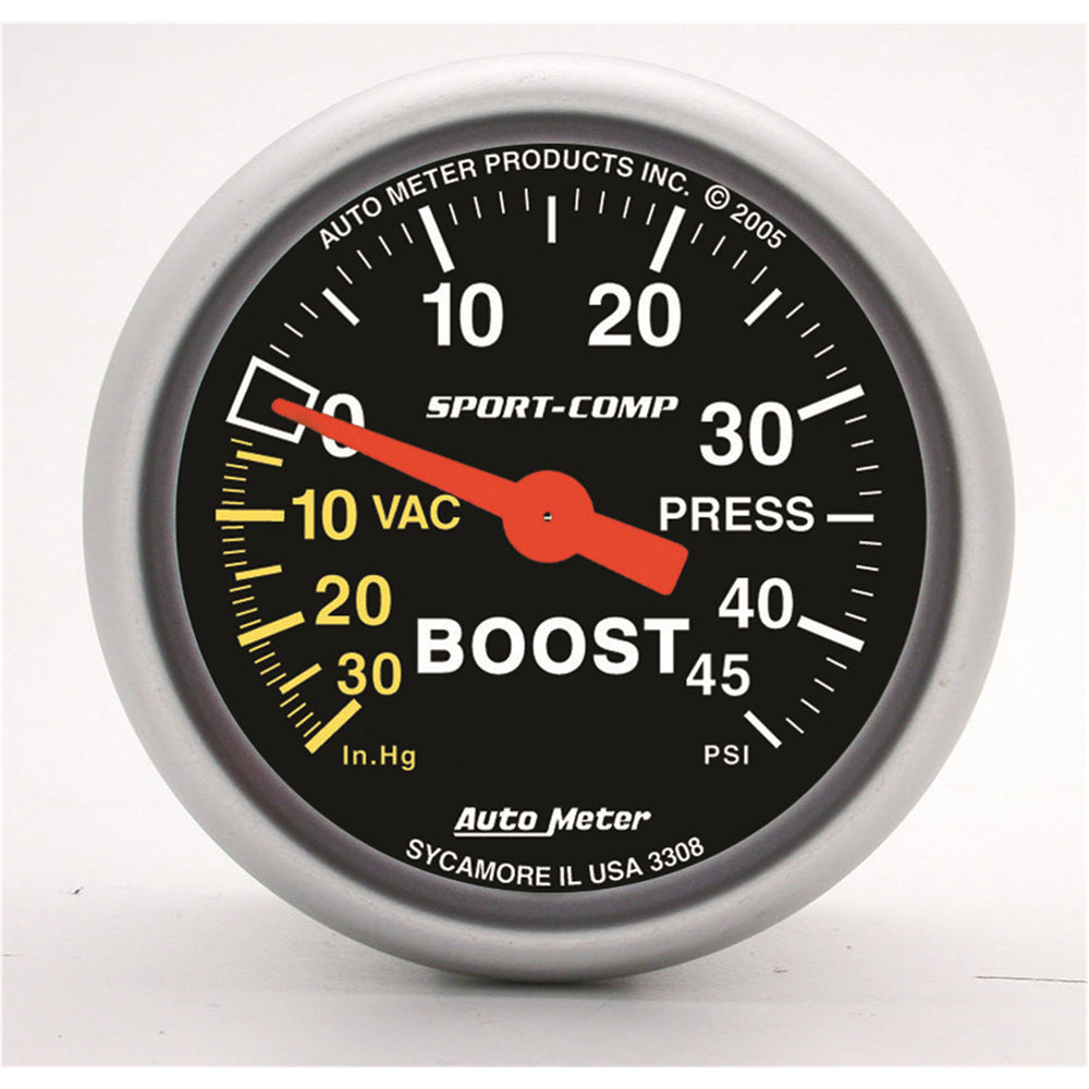 GAUGE, VAC/BOOST, 2 1/16in, 30INHG-45PSI, MECHANICAL, SPORT-COMP