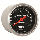GAUGE, FUEL LEVEL, 2 1/16in, 0-280O PROGRAMMABLE, SPORT-COMP