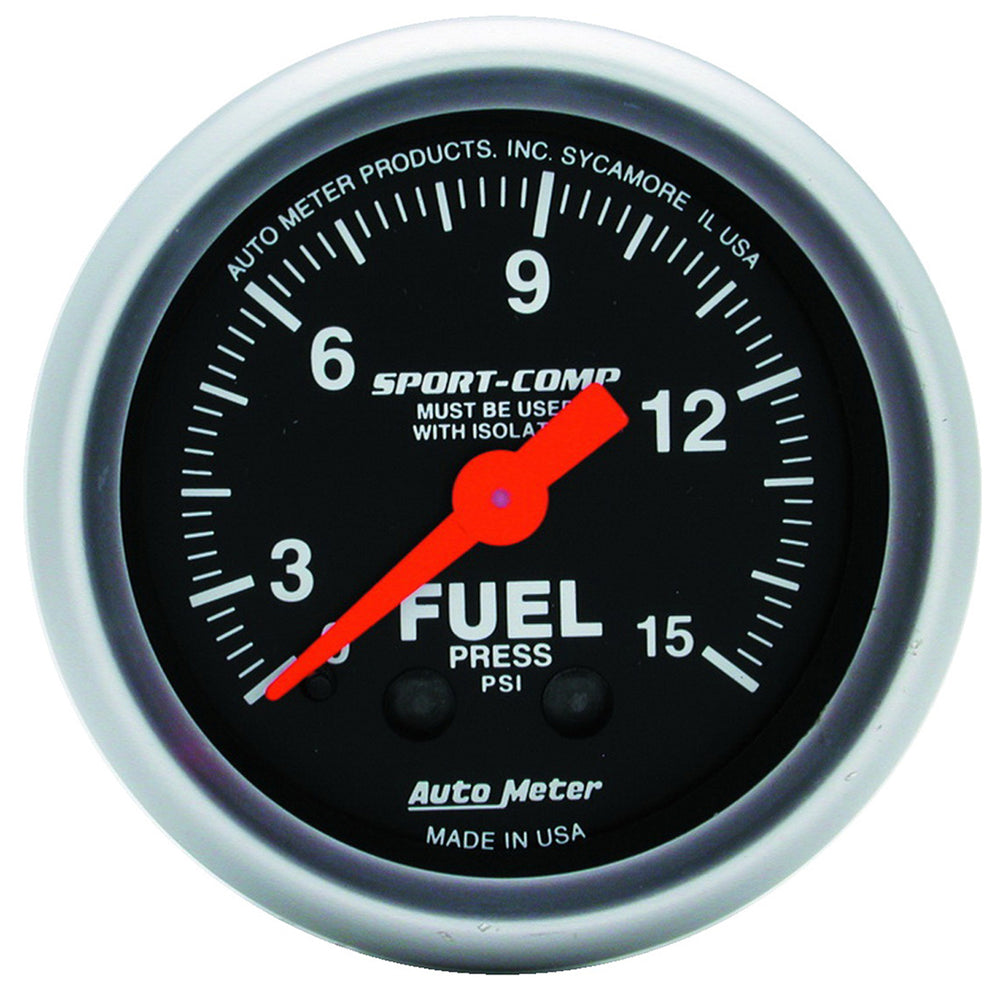 GAUGE, FUEL PRESSURE, 2 1/16in, 15PSI, MECHANICAL W/ISOLATOR, SPORT-COMP