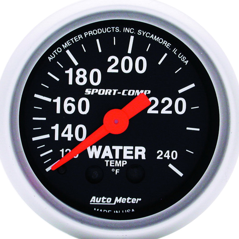 GAUGE, WATER TEMP, 2 1/16in, 120-240?F, MECHANICAL, SPORT-COMP
