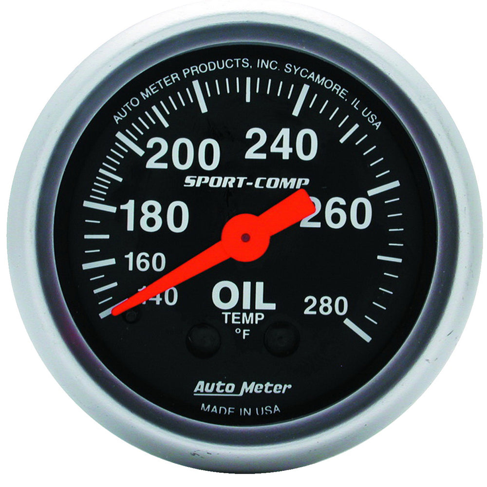 GAUGE, OIL TEMP, 2 1/16in, 140-280?F, MECHANICAL, SPORT-COMP