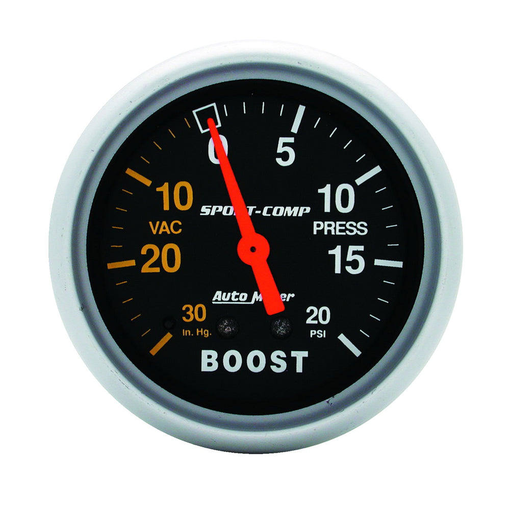 GAUGE, VAC/BOOST, 2 5/8in, 30INHG-20PSI, MECHANICAL, SPORT-COMP