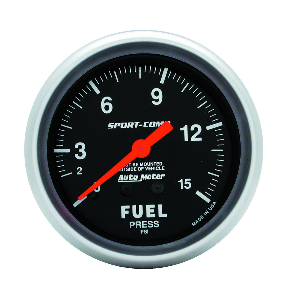 GAUGE, FUEL PRESSURE, 2 5/8in, 15PSI, MECHANICAL, SPORT-COMP