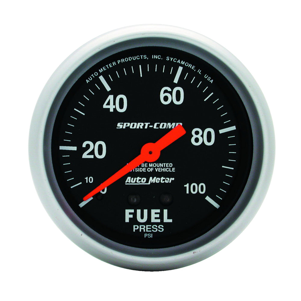 GAUGE, FUEL PRESSURE, 2 5/8in, 100PSI, MECHANICAL, SPORT-COMP