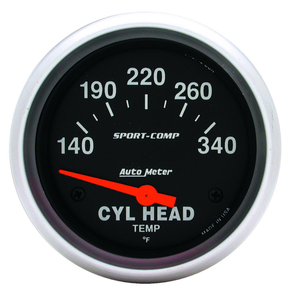 GAUGE, CYLINDER HEAD TEMP, 2 5/8in, 140-340?F, ELECTRIC, SPORT-COMP