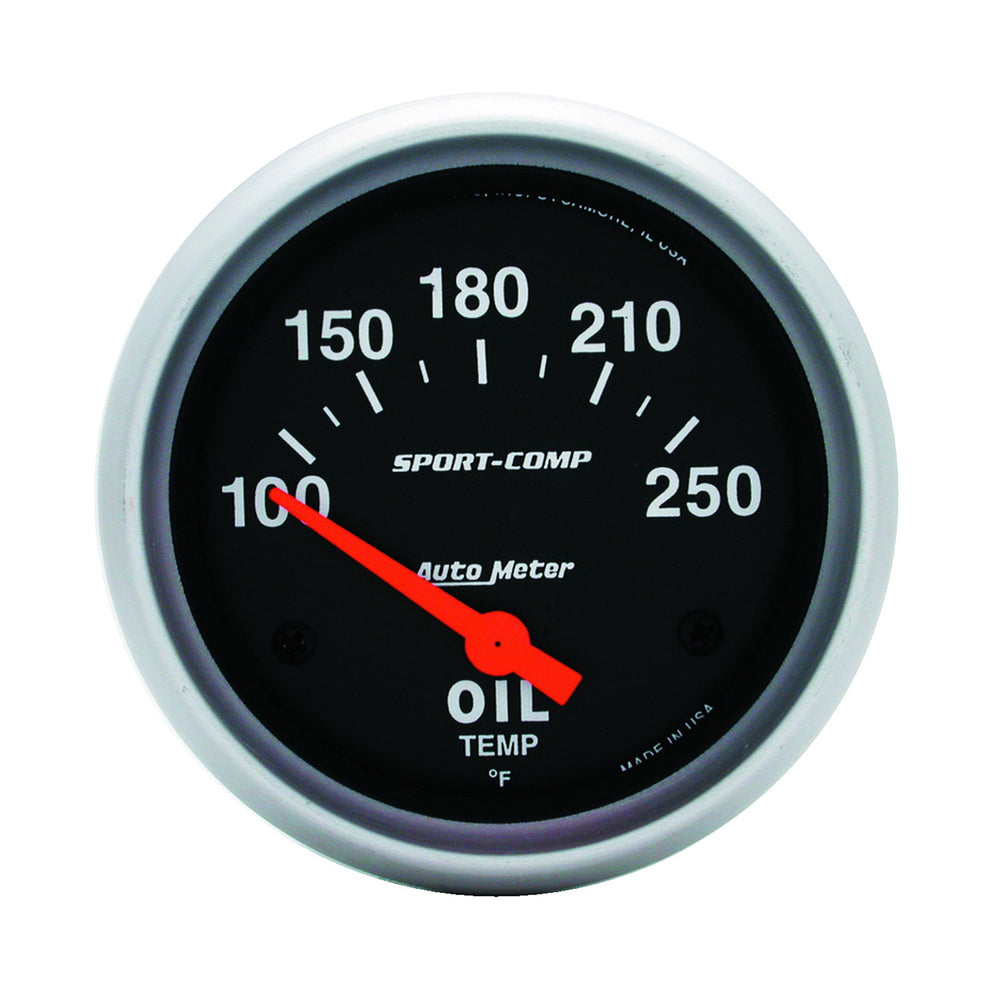 GAUGE, OIL TEMP, 2 5/8in, 100-250?F, ELECTRIC, SPORT-COMP