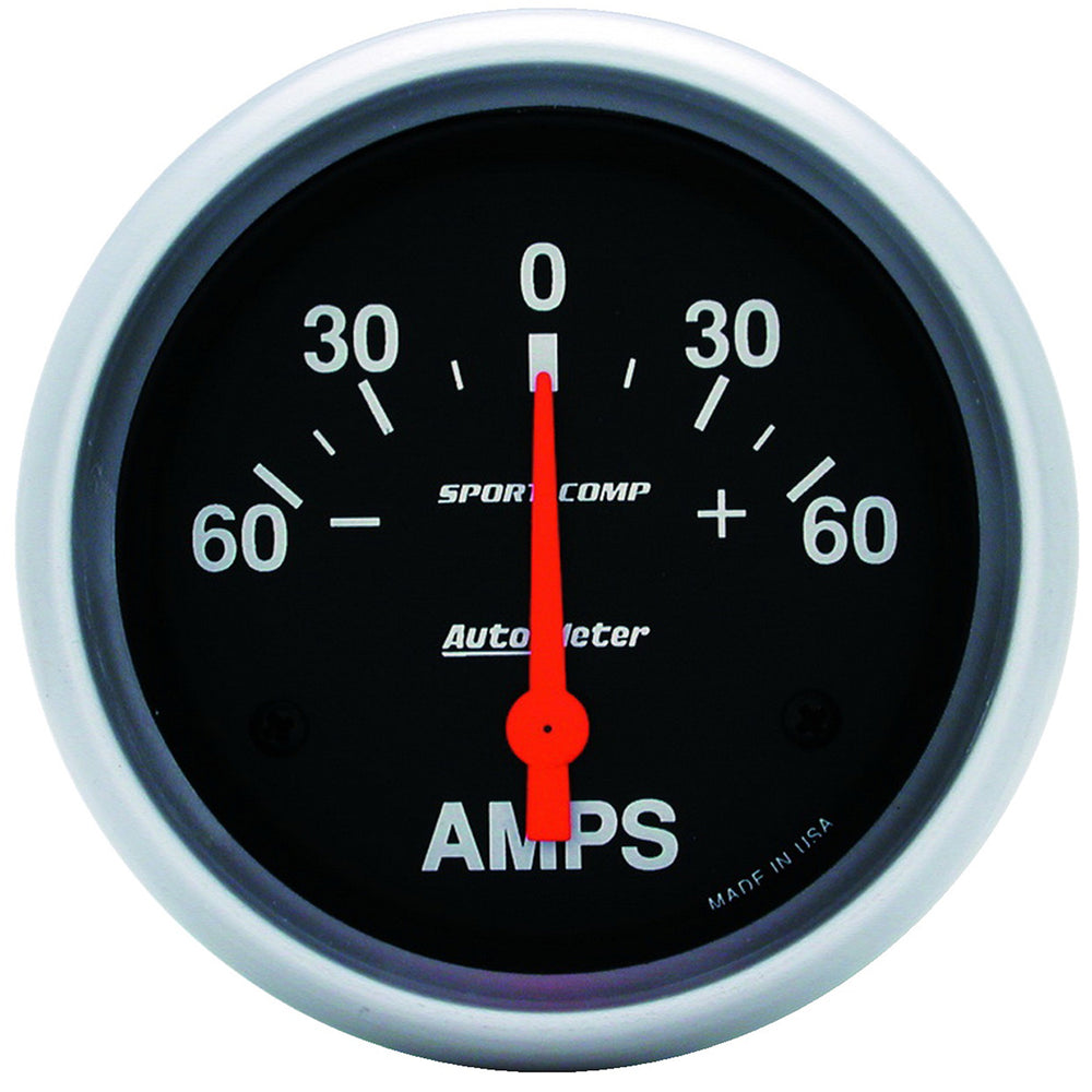 GAUGE, AMMETER, 2 5/8in, 60A, ELECTRIC, SPORT-COMP