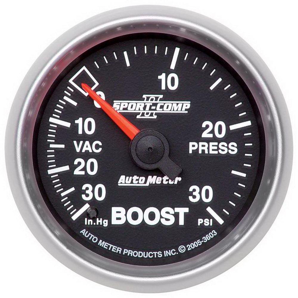 GAUGE, VAC/BOOST, 2 1/16in, 30INHG-30PSI, MECHANICAL, SPORT-COMP II