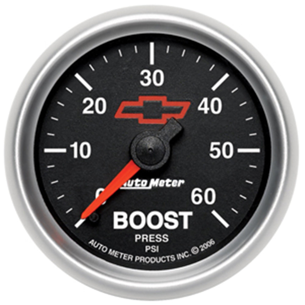 GAUGE, BOOST, 2 1/16in, 60PSI, MECHANICAL, GM BOWTIE BLACK