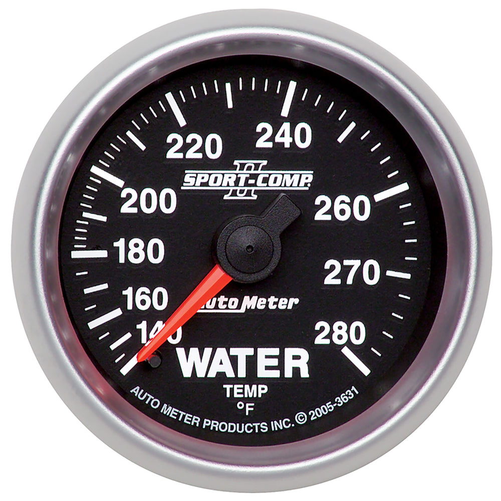 GAUGE, WATER TEMP, 2 1/16in, 140-280?F, MECHANICAL, SPORT-COMP II