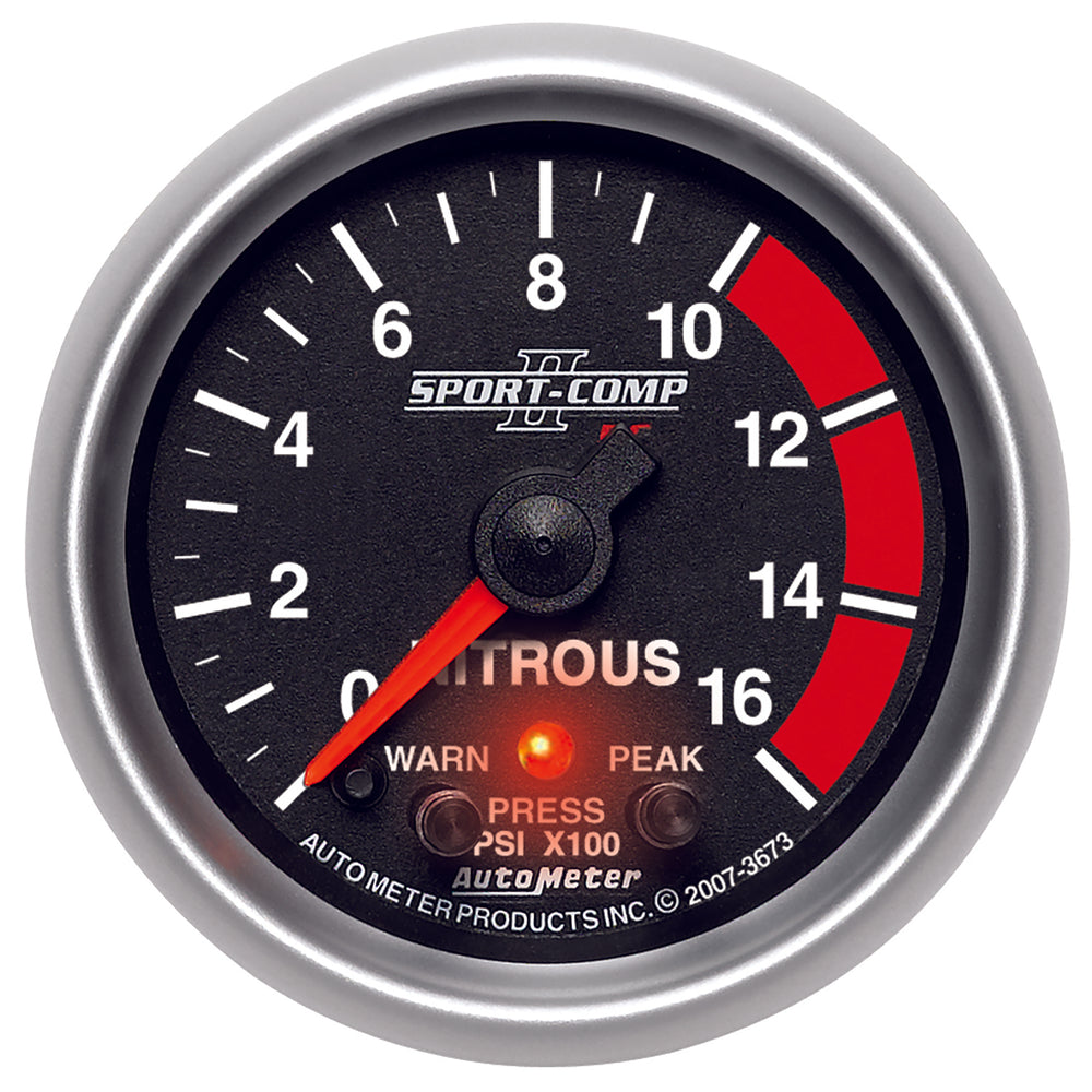 GAUGE, NITROUS PRESS, 2 1/16in, 1600PSI, STEPPER MOTOR W/PK & WRN, SPORT-COMP II