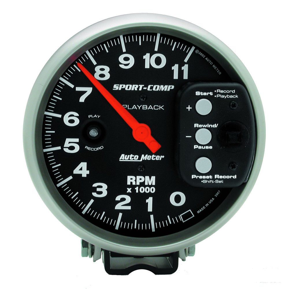 GAUGE, TACHOMETER, 5in, 11K RPM, PEDESTAL W/ RPM PLAYBACK, SPORT-COMP