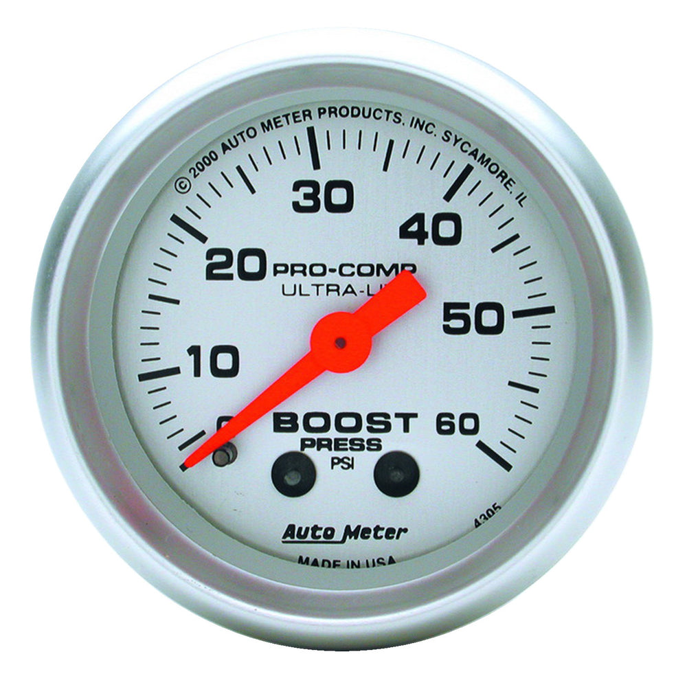 GAUGE, BOOST, 2 1/16in, 60PSI, MECHANICAL, ULTRA-LITE