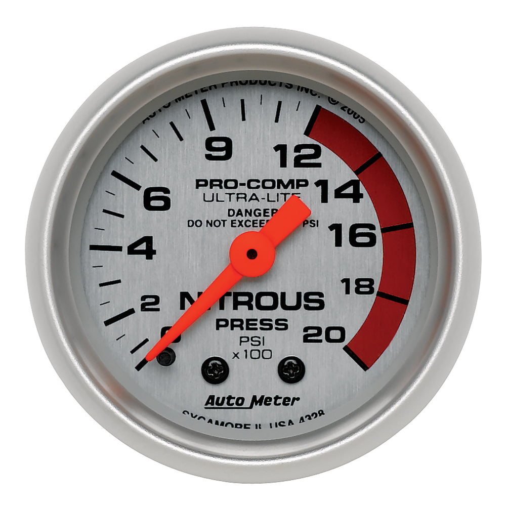 GAUGE, NITROUS PRESSURE, 2 1/16in, 2000PSI, MECHANICAL, ULTRA-LITE
