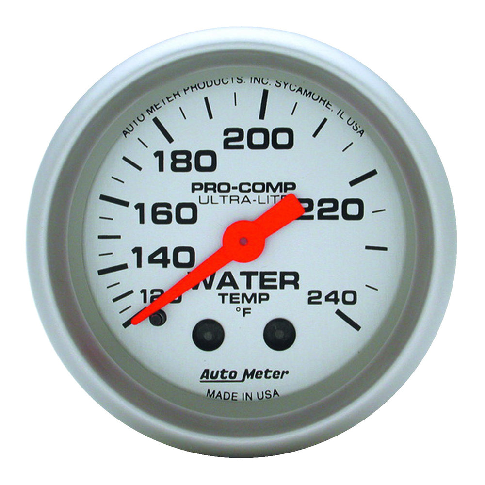 GAUGE, WATER TEMP, 2 1/16in, 120-240?F, MECHANICAL, 12FT., ULTRA-LITE